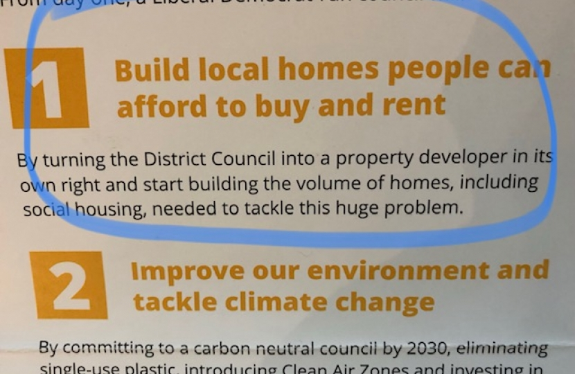 Lib Dem Leaflet calling for housing action that is already happening!